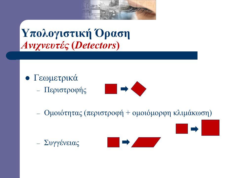Υπολογιστική Όραση Ανιχνευτές (Detectors) Γεωμετρικά – Περιστροφής – Ομοιότητας (περιστροφή + ομοιόμορφη κλιμάκωση) – Συγγένειας