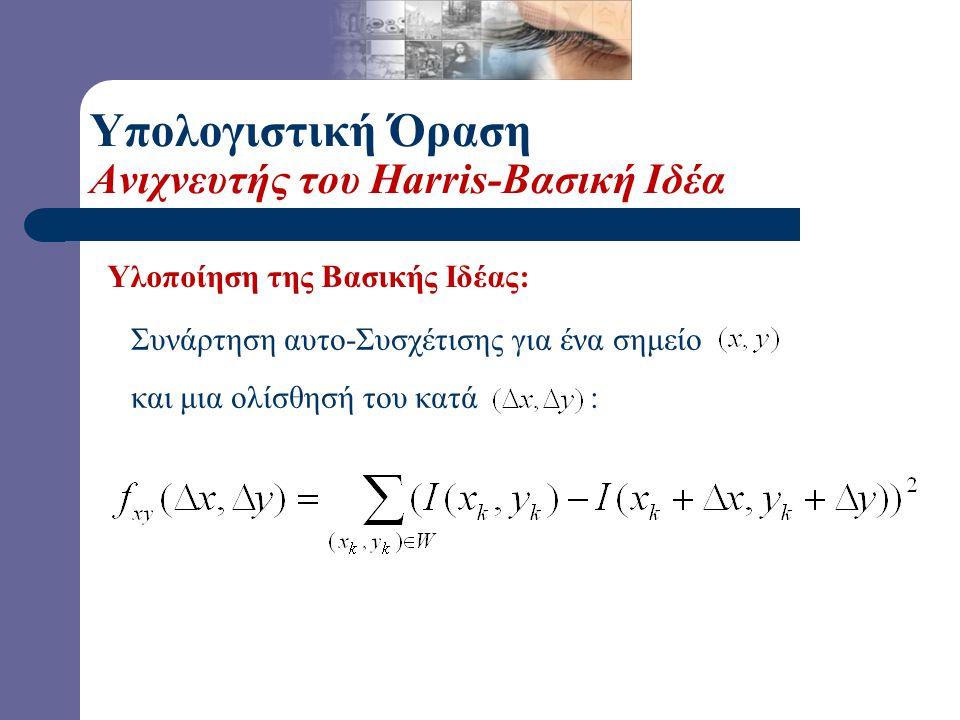 Συνάρτηση αυτο-Συσχέτισης για ένα σημείο και μια ολίσθησή του κατά : Υλοποίηση της Βασικής Ιδέας: Υπολογιστική Όραση Ανιχνευτής του Harris-Βασική Ιδέα