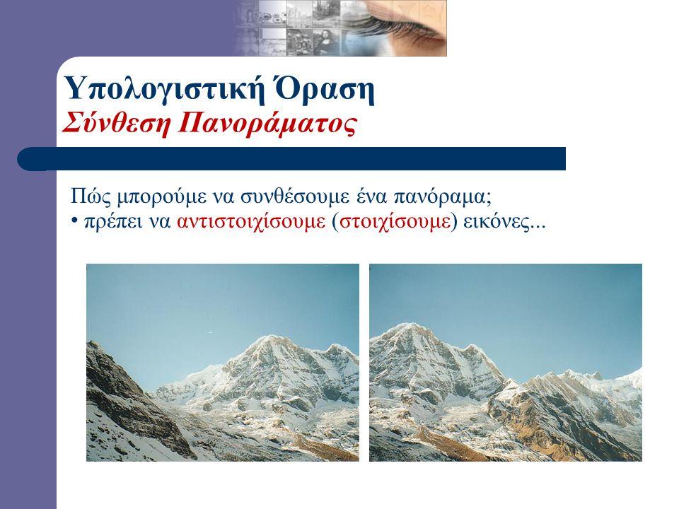 Αντιστοίχιση με χρήση Χαρακτηριστικών (Features) Εντοπισμός Χαρακτηριστικών στις δύο εικόνες...