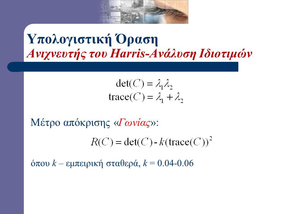 Μέτρο απόκρισης «Γωνίας»: όπου k – εμπειρική σταθερά, k = 0.04-0.06 Υπολογιστική Όραση Ανιχνευτής του Harris-Ανάλυση Ιδιοτιμών