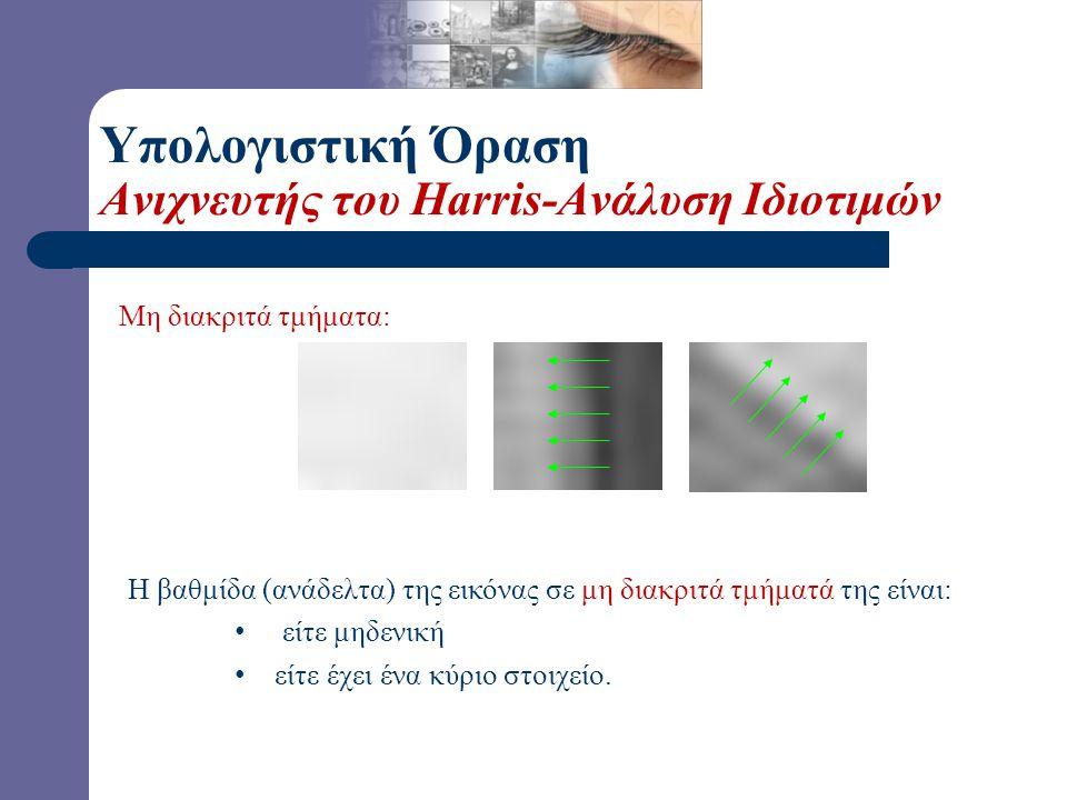 Μη διακριτά τμήματα: Η βαθμίδα (ανάδελτα) της εικόνας σε μη διακριτά τμήματά της είναι: είτε μηδενική είτε έχει ένα κύριο στοιχείο.