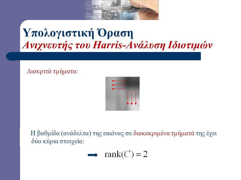 Διακριτά τμήματα: Η βαθμίδα (ανάδελτα) της εικόνας σε διακεκριμένα τμήματά της έχει δύο κύρια στοιχεία: Υπολογιστική Όραση Ανιχνευτής του Harris-Ανάλυση Ιδιοτιμών