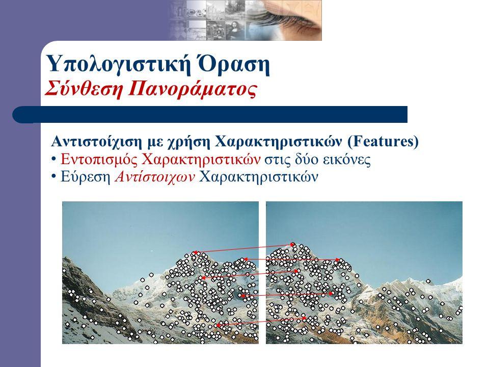 Αντιστοίχιση με χρήση Χαρακτηριστικών (Features) Εντοπισμός Χαρακτηριστικών στις δύο εικόνες Εύρεση Αντίστοιχων Χαρακτηριστικών Υπολογιστική Όραση Σύνθεση Πανοράματος