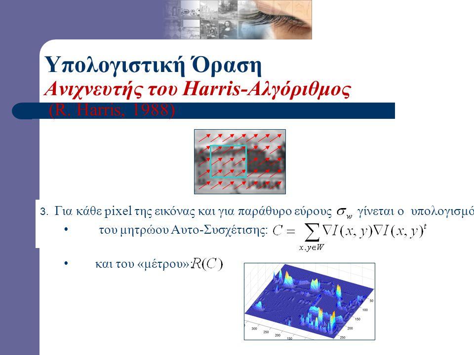 3. Για κάθε pixel της εικόνας και για παράθυρο εύρους γίνεται ο υπολογισμός: τoυ μητρώου Αυτο-Συσχέτισης: και του «μέτρου»: Υπολογιστική Όραση Ανιχνευ