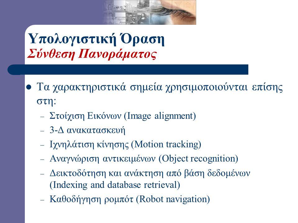 Τα χαρακτηριστικά σημεία χρησιμοποιούνται επίσης στη: – Στοίχιση Εικόνων (Image alignment) – 3-Δ ανακατασκευή – Ιχνηλάτιση κίνησης (Motion tracking) – Αναγνώριση αντικειμένων (Object recognition) – Δεικτοδότηση και ανάκτηση από βάση δεδομένων (Indexing and database retrieval) – Καθοδήγηση ρομπότ (Robot navigation) Υπολογιστική Όραση Σύνθεση Πανοράματος