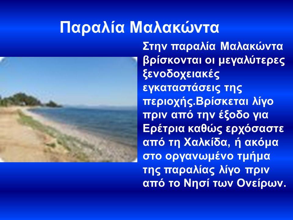 ΠΑΡΑΛΙΑ ΕΡΕΤΡΙΑΣ Η παραλία της Ερέτριας είναι δημοφιλής για τις καφετέριες, τις ταβέρνες και τα ουζερί, αλλά και για την νυχτερινή ζωή.