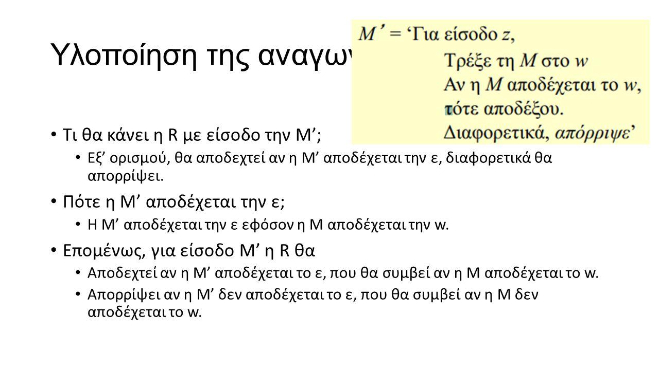 Υλοποίηση της αναγωγής (συνέχεια) Τι θα κάνει η R με είσοδο την Μ'; Εξ' ορισμού, θα αποδεχτεί αν η Μ' αποδέχεται την ε, διαφορετικά θα απορρίψει. Πότε