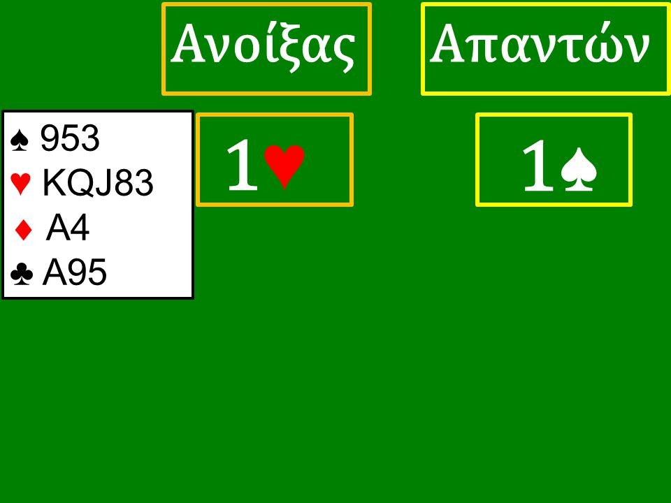 1♥ 1♥ ΑπαντώνΑνοίξας 1♠ ♠ 953 ♥ KQJ83  A4 ♣ A95