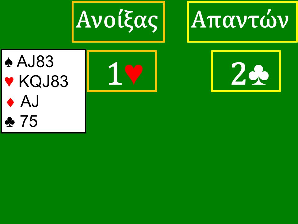 1♥ 1♥ ΑπαντώνΑνοίξας 2 ♣ ♠ ΑJ83 ♥ KQJ83  AJ ♣ 75