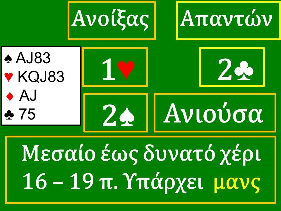 1♥ 1♥ ΑπαντώνΑνοίξας 2 ♣ ♠ ΑJ83 ♥ KQJ83  AJ ♣ 75 2♠ Μεσαίο έως δυνατό χέρι 16 – 19 π.