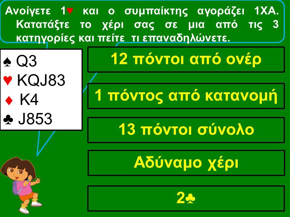 Ανοίγετε 1♥ και ο συμπαίκτης αγοράζει 1ΧΑ. Κατατάξτε το χέρι σας σε μια από τις 3 κατηγορίες και πείτε τι επαναδηλώνετε. ♠ Q3 ♥ KQJ83  Κ4 ♣ J853 12 π