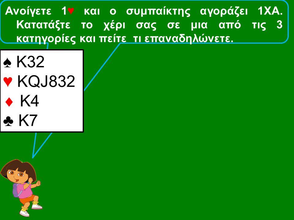 Ανοίγετε 1♥ και ο συμπαίκτης αγοράζει 1ΧΑ. Κατατάξτε το χέρι σας σε μια από τις 3 κατηγορίες και πείτε τι επαναδηλώνετε. ♠ Κ32 ♥ KQJ832  Κ4 ♣ Κ7