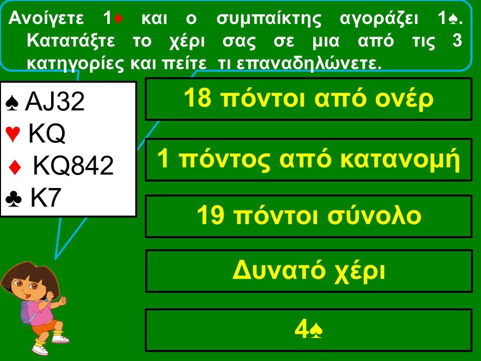 Ανοίγετε 1♦ και ο συμπαίκτης αγοράζει 1♠. Κατατάξτε το χέρι σας σε μια από τις 3 κατηγορίες και πείτε τι επαναδηλώνετε. ♠ ΑJ32 ♥ KQ  ΚQ842 ♣ Κ7 18 πό