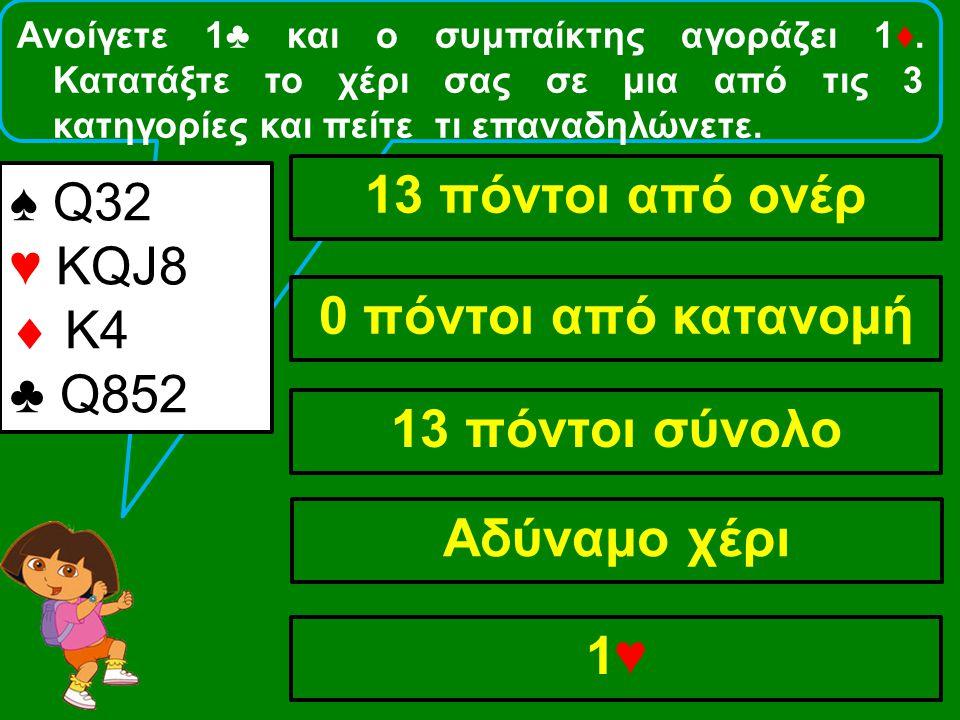 Ανοίγετε 1♣ και ο συμπαίκτης αγοράζει 1♦. Κατατάξτε το χέρι σας σε μια από τις 3 κατηγορίες και πείτε τι επαναδηλώνετε. ♠ Q32 ♥ KQJ8  Κ4 ♣ Q852 13 πό