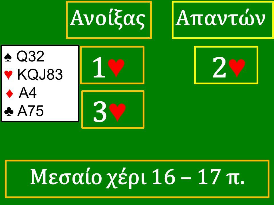 1♥ 1♥ ΑπαντώνΑνοίξας 2 ♥ 3♥ 3♥ ♠ Q32 ♥ KQJ83  A4 ♣ A75 Μεσαίο χέρι 16 – 17 π.