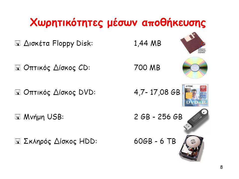 8 Χωρητικότητες μέσων αποθήκευσης  Δισκέτα Floppy Disk:1,44 MB  Οπτικός Δίσκος CD:700 MB  Οπτικός Δίσκος DVD:4,7- 17,08 GB  Μνήμη USB:2 GB - 256 G