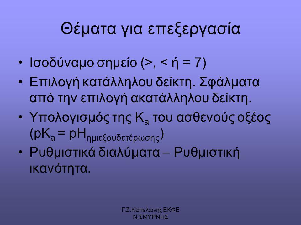 Γ.Ζ.Καπελώνης ΕΚΦΕ Ν.ΣΜΥΡΝΗΣ Θέματα για επεξεργασία Ισοδύναμο σημείο (>, < ή = 7) Επιλογή κατάλληλου δείκτη.