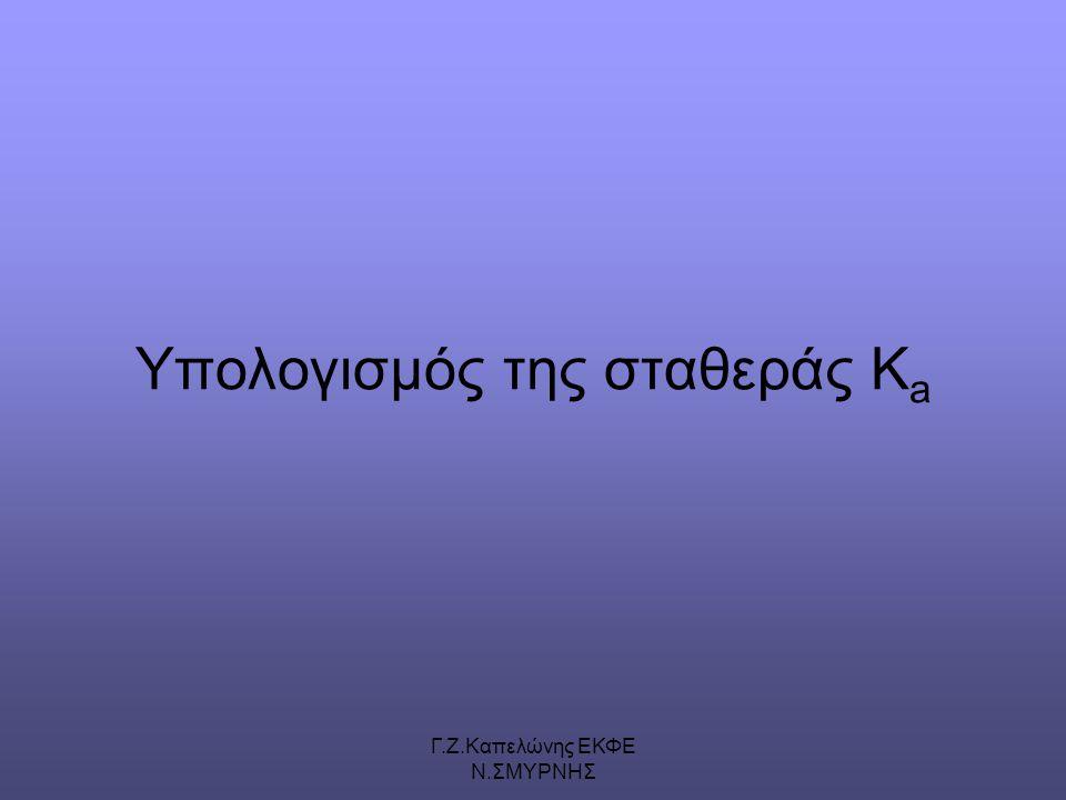 Γ.Ζ.Καπελώνης ΕΚΦΕ Ν.ΣΜΥΡΝΗΣ Υπολογισμός της σταθεράς K a