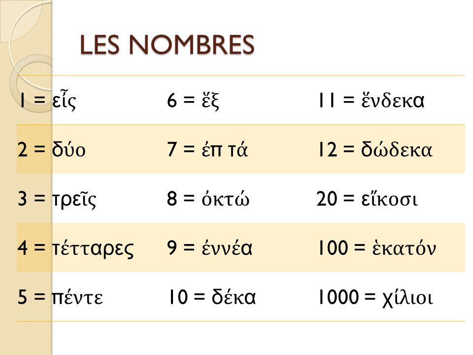 LES NOMBRES 1 = ε ἶ ς 6 = ἕ ξ 11 = ἕ νδεκα 2 = δ ύ ο 7 = ἐ π τ ά 12 = δ ώ δεκα 3 = τρε ῖ ς 8 = ὀ κτ ώ 20 = ε ἴ κοσι 4 = τ έ τταρες 9 = ἐ νν έ α 100 = ἑ κατ ό ν 5 = π έ ντε 10 = δ έ κα 1000 = χ ί λιοι