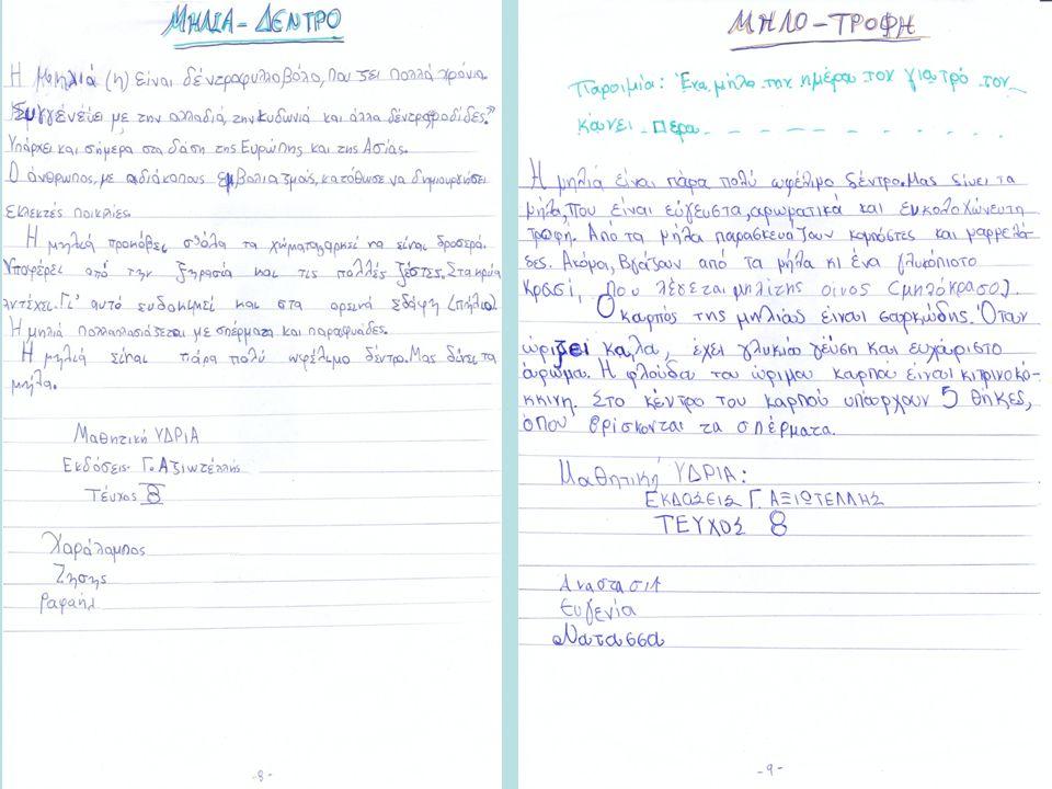 ΣΥΝΘΕΣΗ ΚΕΙΜΕΝΟΥ Οι μαθητές επεξεργάστηκαν τις πληροφορίες. Κάθε ομάδα έγραψε το τελικό κείμενο.