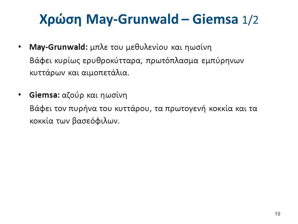 Χρώση May-Grunwald – Giemsa 1/2 May-Grunwald: μπλε του μεθυλενίου και ηωσίνη Βάφει κυρίως ερυθροκύτταρα, πρωτόπλασμα εμπύρηνων κυττάρων και αιμοπετάλι