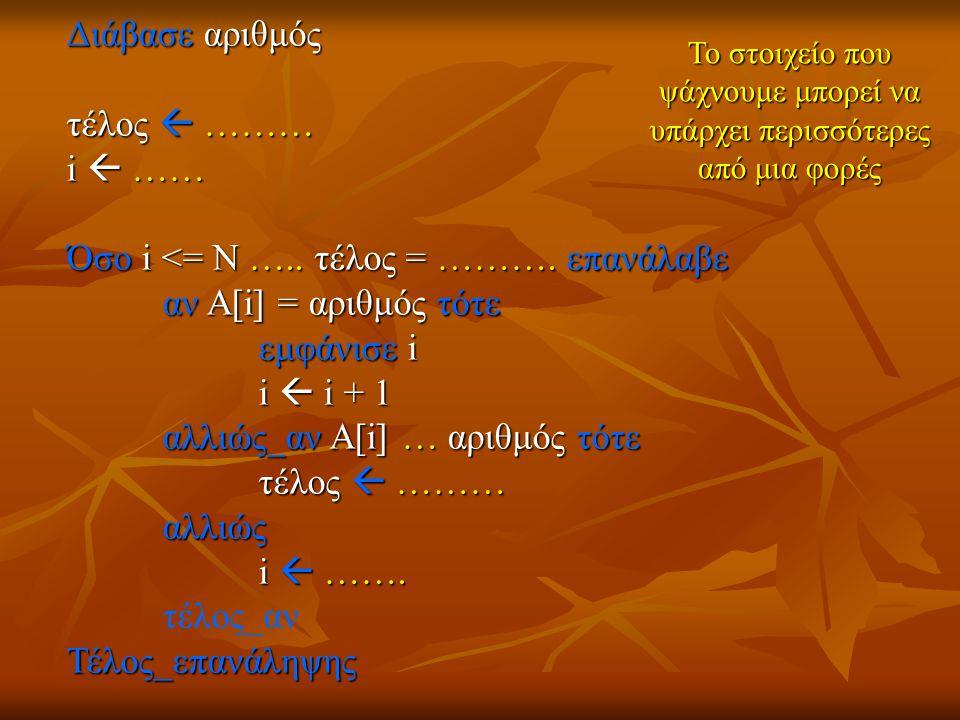 Διάβασε αριθμός τέλος  ……… i  …… Όσο i <= Ν ….. τέλος = ……….