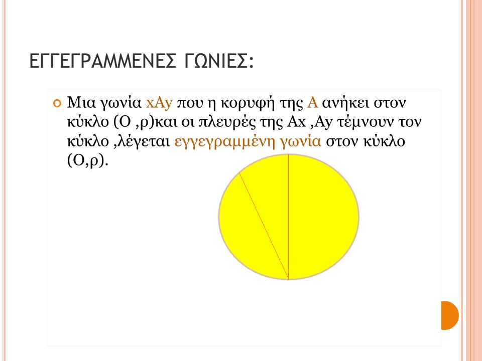 ΕΓΓΕΓΡΑΜΜΕΝΕΣ ΓΩΝΙΕΣ: Μια γωνία xΑy που η κορυφή της Α ανήκει στον κύκλο (Ο,ρ)και οι πλευρές της Ax,Ay τέμνουν τον κύκλο,λέγεται εγγεγραμμένη γωνία στ