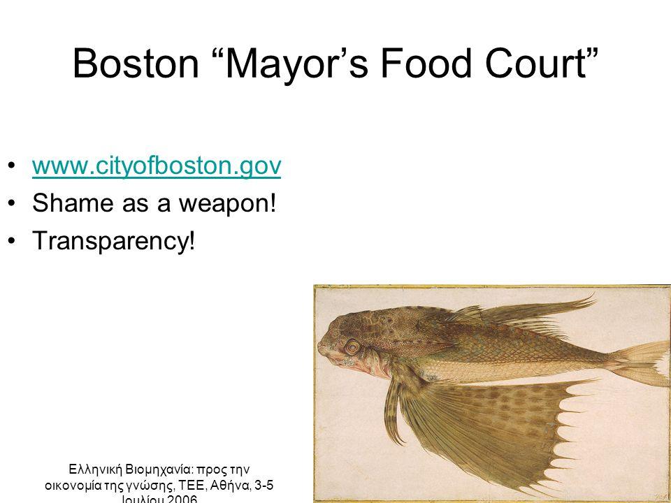 Ελληνική Βιομηχανία: προς την οικονομία της γνώσης, ΤΕΕ, Αθήνα, 3-5 Ιουλίου 2006 Boston Mayor's Food Court www.cityofboston.gov Shame as a weapon.
