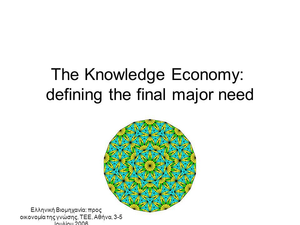 Ελληνική Βιομηχανία: προς την οικονομία της γνώσης, ΤΕΕ, Αθήνα, 3-5 Ιουλίου 2006 The Knowledge Economy: defining the final major need