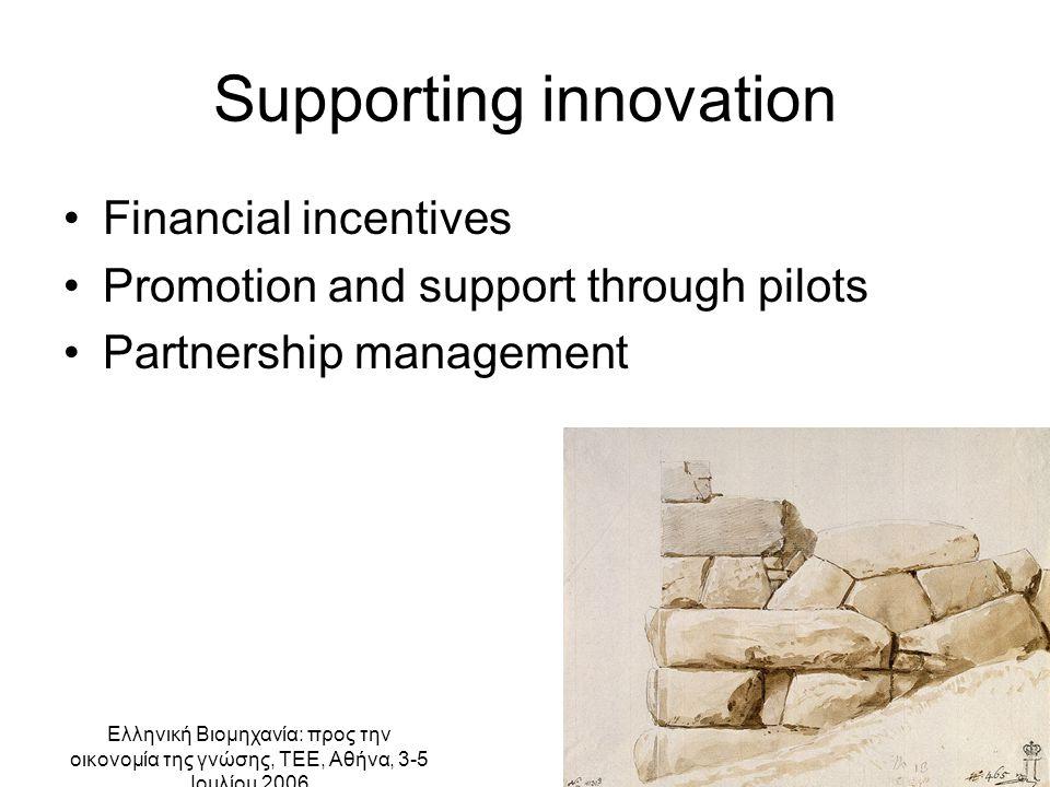 Ελληνική Βιομηχανία: προς την οικονομία της γνώσης, ΤΕΕ, Αθήνα, 3-5 Ιουλίου 2006 Supporting innovation Financial incentives Promotion and support through pilots Partnership management