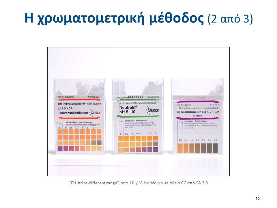 """Η χρωματομετρική μέθοδος (2 από 3) """"PH strips-different range"""", από Lilly M διαθέσιμο με άδεια CC από-SA 3.0PH strips-different rangeLilly MCC από-SA"""