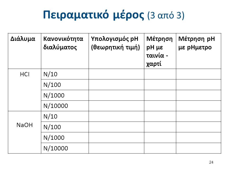 Πειραματικό μέρος (3 από 3) ΔιάλυμαΚανονικότητα διαλύματος Υπολογισμός pH (θεωρητική τιμή) Μέτρηση pH με ταινία - χαρτί Μέτρηση pH με pHμετρο HCIΝ/10