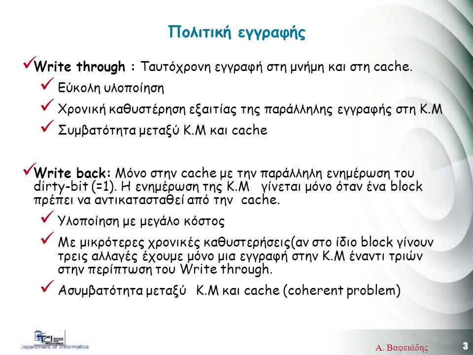 3 Α. Βαφειάδης Πολιτική εγγραφής Write through : Ταυτόχρονη εγγραφή στη μνήμη και στη cache.