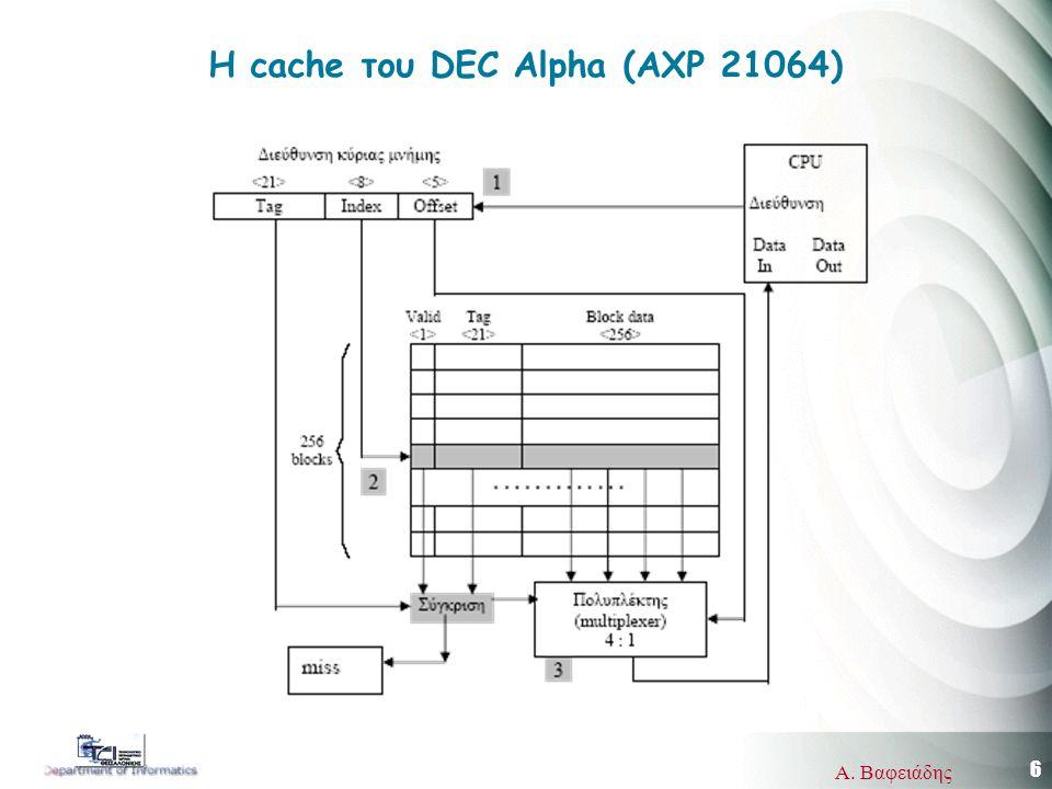 7 Α.Βαφειάδης Η cache του DEC Alpha (AXP 21064) Address length = (s + w) bits =34 bits M.