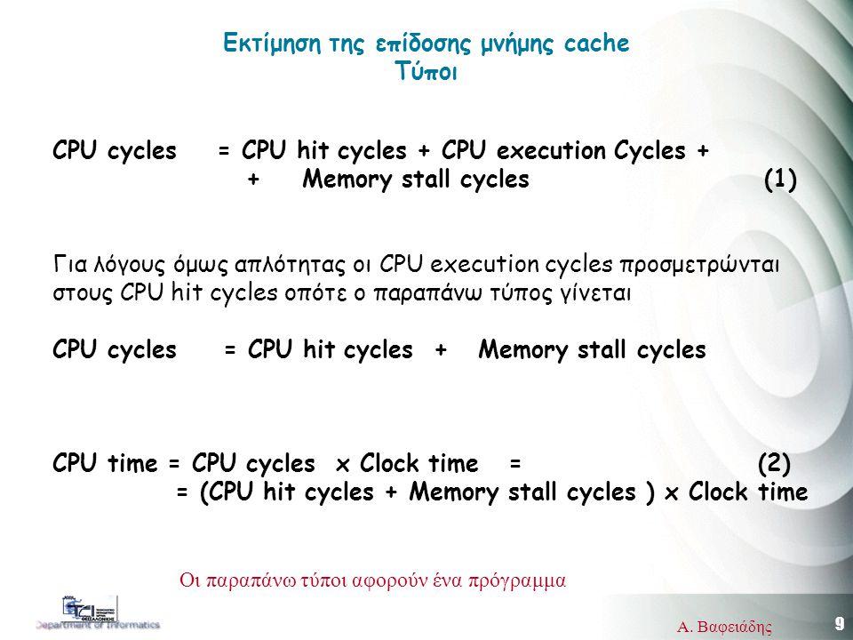 9 Α. Βαφειάδης CPU cycles = CPU hit cycles + CPU execution Cycles + + Memory stall cycles (1) Για λόγους όμως απλότητας οι CPU execution cycles προσμε