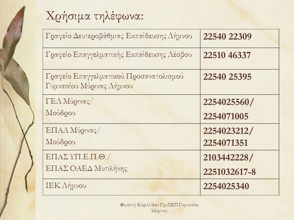 Φωτεινή Κυριλλίδου ΓραΣΕΠ Γυμνασίου Μύρινας Χρήσιμα τηλέφωνα: Γραφείο Δευτεροβάθμιας Εκπαίδευσης Λήμνου 22540 22309 Γραφείο Επαγγελματικής Εκπαίδευσης