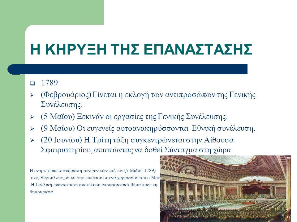 Η ΚΗΡΥΞΗ ΤΗΣ ΕΠΑΝΑΣΤΑΣΗΣ  1789  (Φεβρουάριος) Γίνεται η εκλογή των αντιπροσώπων της Γενικής Συνέλευσης.