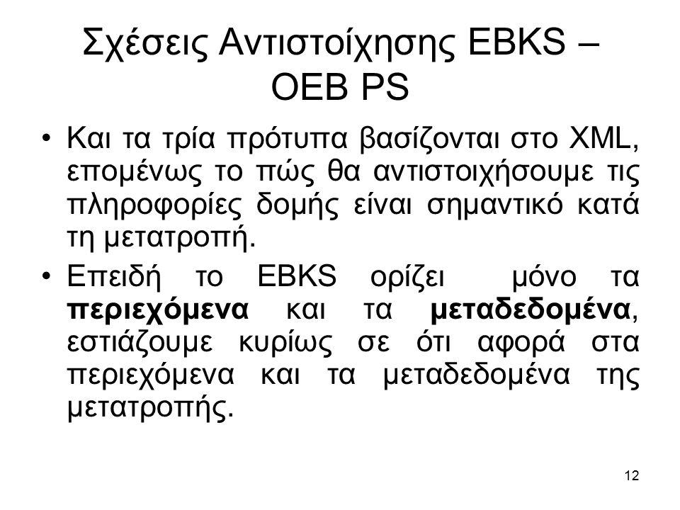 12 Σχέσεις Αντιστοίχησης EBKS – OEB PS Και τα τρία πρότυπα βασίζονται στο XML, επομένως το πώς θα αντιστοιχήσουμε τις πληροφορίες δομής είναι σημαντικό κατά τη μετατροπή.