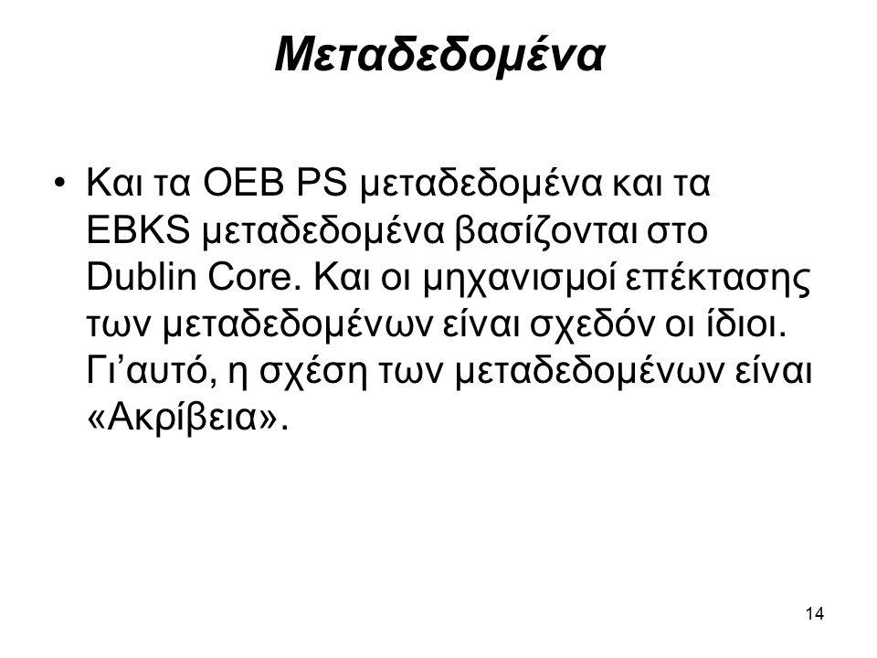 14 Μεταδεδομένα Και τα OEB PS μεταδεδομένα και τα EBKS μεταδεδομένα βασίζονται στο Dublin Core.
