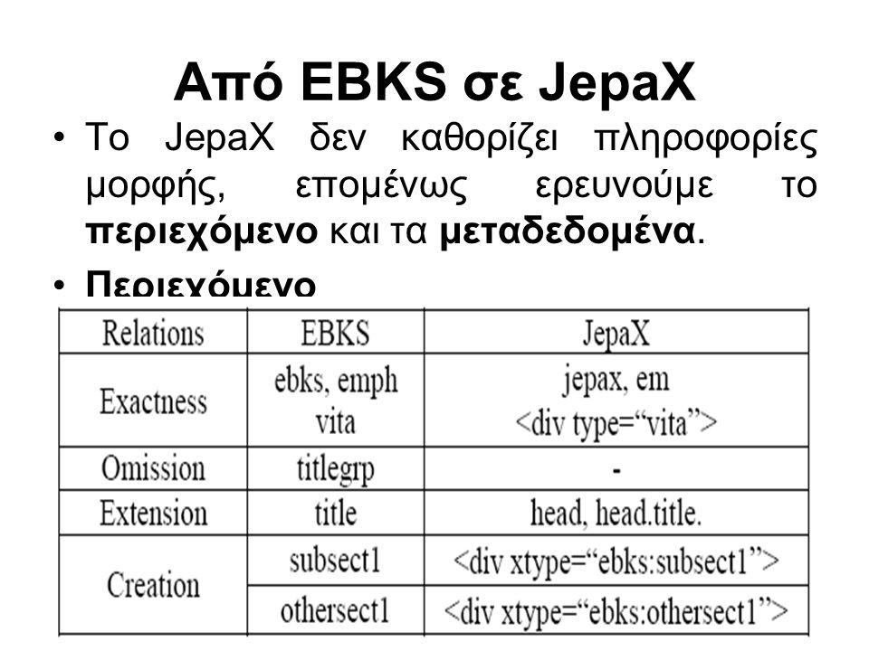 15 Από EBKS σε JepaX Το JepaX δεν καθορίζει πληροφορίες μορφής, επομένως ερευνούμε το περιεχόμενο και τα μεταδεδομένα.