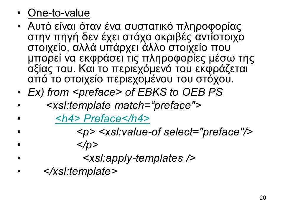 20 One-to-value Αυτό είναι όταν ένα συστατικό πληροφορίας στην πηγή δεν έχει στόχο ακριβές αντίστοιχο στοιχείο, αλλά υπάρχει άλλο στοιχείο που μπορεί να εκφράσει τις πληροφορίες μέσω της αξίας του.