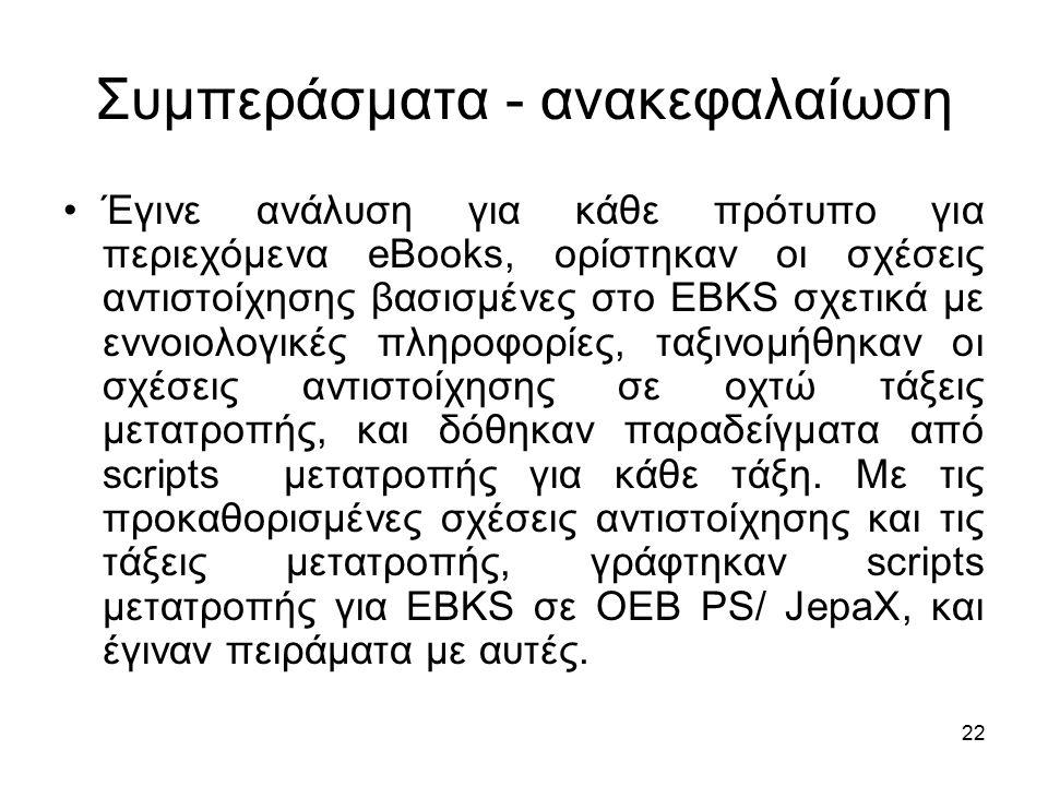22 Συμπεράσματα - ανακεφαλαίωση Έγινε ανάλυση για κάθε πρότυπο για περιεχόμενα eBooks, ορίστηκαν οι σχέσεις αντιστοίχησης βασισμένες στο EBKS σχετικά με εννοιολογικές πληροφορίες, ταξινομήθηκαν οι σχέσεις αντιστοίχησης σε οχτώ τάξεις μετατροπής, και δόθηκαν παραδείγματα από scripts μετατροπής για κάθε τάξη.