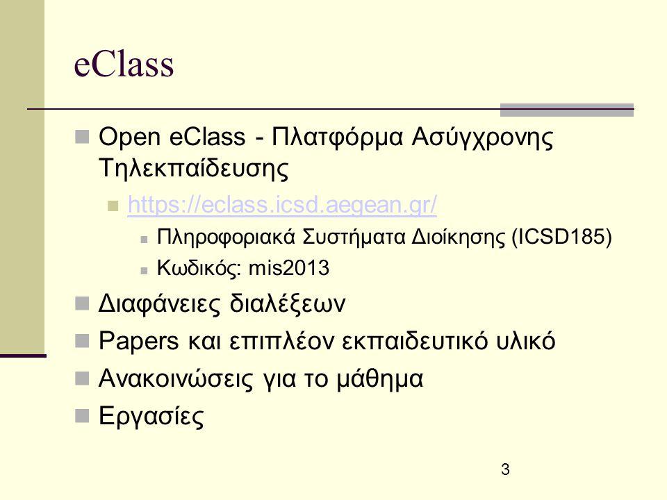 3 eClass Open eClass - Πλατφόρμα Ασύγχρονης Τηλεκπαίδευσης https://eclass.icsd.aegean.gr/ Πληροφοριακά Συστήματα Διοίκησης (ICSD185) Κωδικός: mis2013 Διαφάνειες διαλέξεων Papers και επιπλέον εκπαιδευτικό υλικό Ανακοινώσεις για το μάθημα Εργασίες