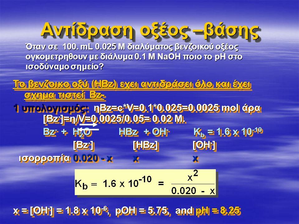 Αντίδραση οξέος –βάσης Το βενζοικο οξύ (ΗΒz) εχει αντιδράσει όλο και έχει σχημα τιστεί Bz- 1 υπολογισμός: ηΒz=c*V=0.1*0.025=0.0025 mol άρα [Bz - ]=η/V