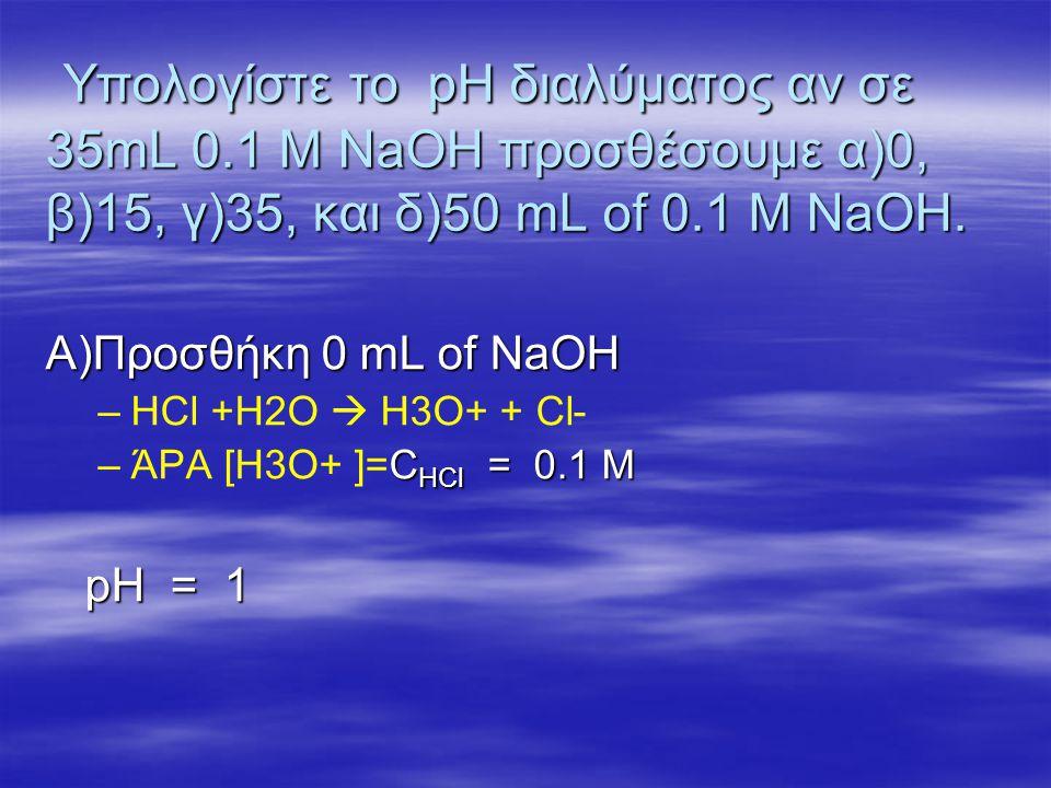 Υπολογίστε το pH διαλύματος αν σε 35mL 0.1 M NaOH προσθέσουμε α)0, β)15, γ)35, και δ)50 mL of 0.1 M NaOH. Υπολογίστε το pH διαλύματος αν σε 35mL 0.1 M