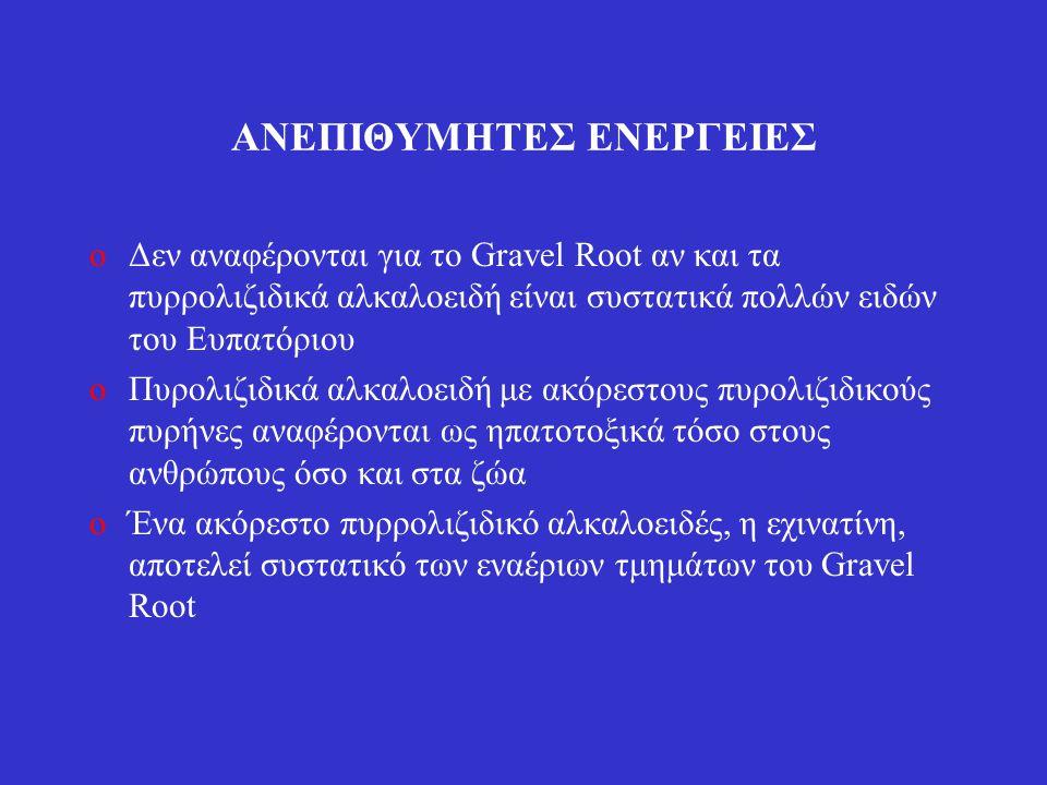 ΑΝΕΠΙΘΥΜΗΤΕΣ ΕΝΕΡΓΕΙΕΣ oΔεν αναφέρονται για το Gravel Root αν και τα πυρρολιζιδικά αλκαλοειδή είναι συστατικά πολλών ειδών του Ευπατόριου oΠυρολιζιδικ