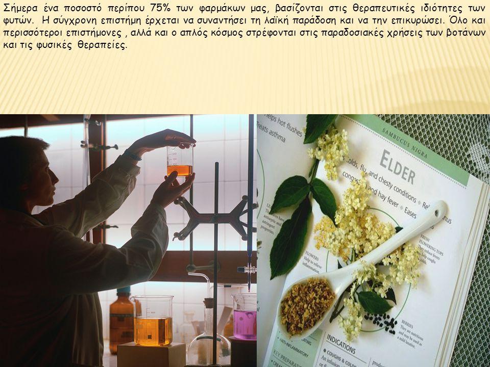 Σήμερα ένα ποσοστό περίπου 75% των φαρμάκων μας, βασίζονται στις θεραπευτικές ιδιότητες των φυτών.