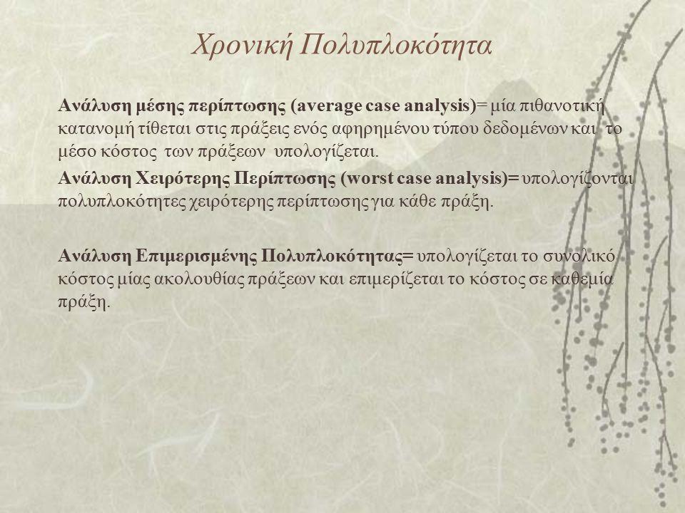 Χρονική Πολυπλοκότητα Ανάλυση μέσης περίπτωσης (average case analysis)= μία πιθανοτική κατανομή τίθεται στις πράξεις ενός αφηρημένου τύπου δεδομένων κ