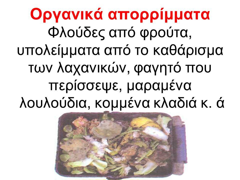 Οργανικά απορρίμματα Φλούδες από φρούτα, υπολείμματα από το καθάρισμα των λαχανικών, φαγητό που περίσσεψε, μαραμένα λουλούδια, κομμένα κλαδιά κ. ά