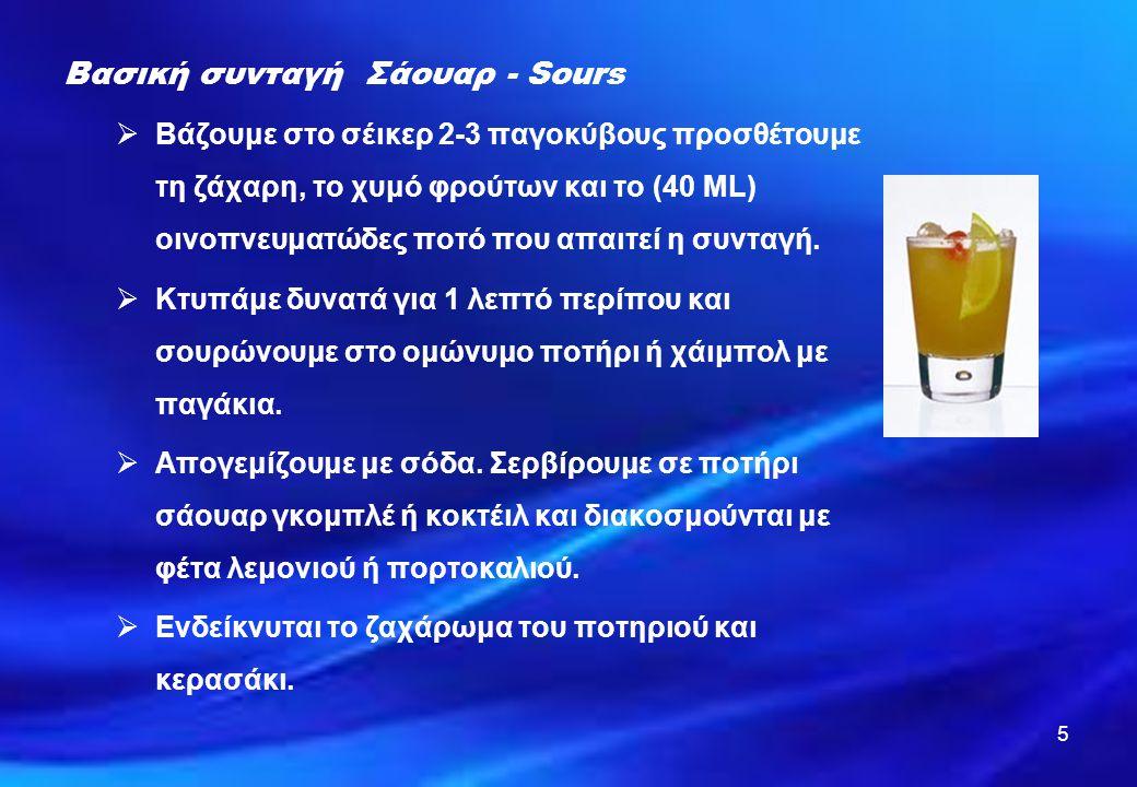 ΟΝΟΜΑ ΠΟΤΟΥ Ουίσκι σάουαρ (Whisky sour) ΠΟΣΟΤΗΤΕΣΠΟΤΑ \ ΥΛΙΚΑΠΑΡΑΣΚΕΥΗ ΣΕ ΠΟΤΗΡΙΓΑΡΝΙΡΙΣΜΑ ΔΙΑΚΟΣΜΗΣΗ 40 ML 30 ML 1 – 2 σταγόνες - Σκοτς - Χυμό λεμονιού - Ασπράδι αυγού - Σόδα (προαιρετικά) Ποτήρι ή σε ανανά - Ροκ - Ολντ φάσιον ή - Σάουαρ - Φέτα λεμονιού - Κερασάκι ΜΕΘΟΔΟΣ ΠΑΡΑΣΚΕΥΗΣ: Βάζουμε τα παγάκια και τα υπόλοιπα υλικά στο σέικερ.